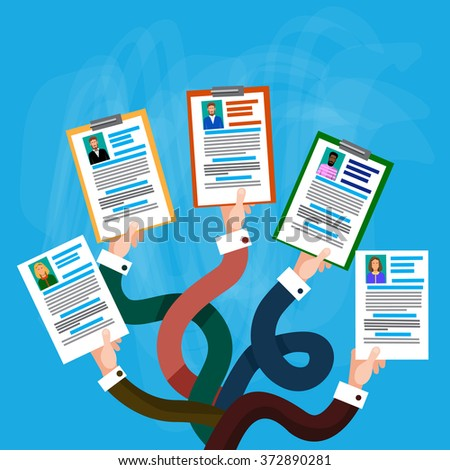 Hands Group Hold CV Profile Candidate Job Position, Business People to Hire Flat Vector Illustration - stock vector