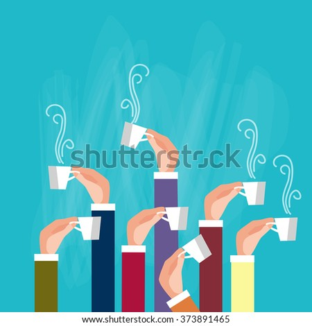 Hands Group Holding Cup Mug Tea Coffee Break Concept Flat Vector Illustration - stock vector
