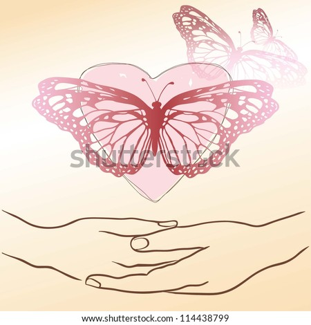 hands, heart and butterfly .Vector illustration - stock vector