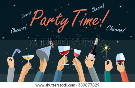 Hands high up holding glasses of wine and other party items