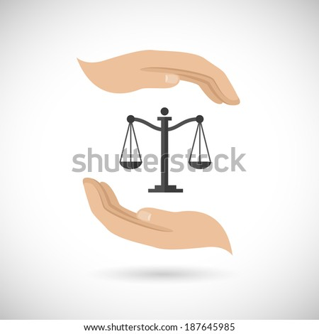Hands hold and protect scales of justice and law concept vector illustration - stock vector