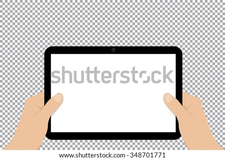 Hands hold blank screen tablet. - stock vector