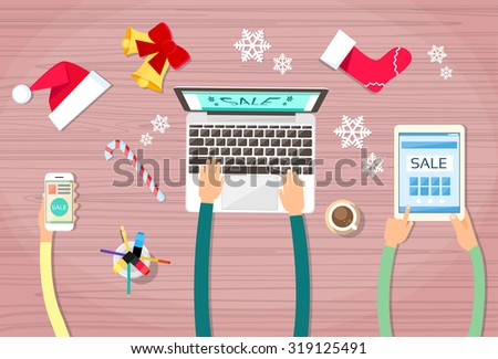 Hands Hold Device Electronics Gadget New Year Concept Laptop Phone Tablet Christmas Gift Decoration Flat Vector Illustration - stock vector
