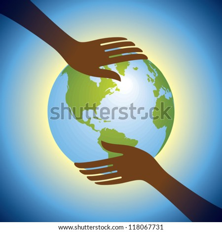 hands hold globe - stock vector