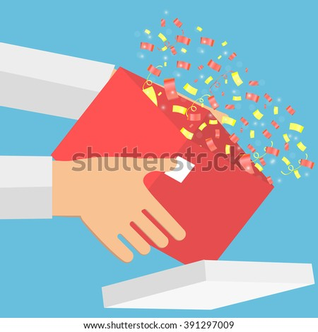Hands hold open gift with fireworks from confetti background.  Gift box in hands. Parcel in hand. Hands hold box with secret. Gift with surprise. Vector illustration. - stock vector