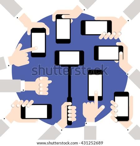 Hands hold smart phones, flat design - stock vector
