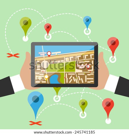 Hands hold smartphone with map of imaginary city with GPS icon and pin template of navigation system. Delivery concept in flat cartoon design style. - stock vector