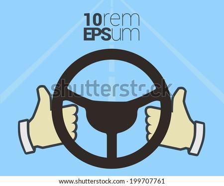Hands hold steering wheel. Vector illustration. - stock vector