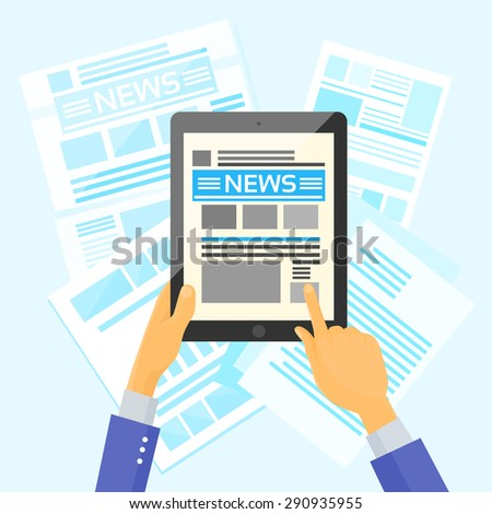 Hands Hold Tablet News Desk Newspapers Internet Web Application Read Flat Vector Illustration
