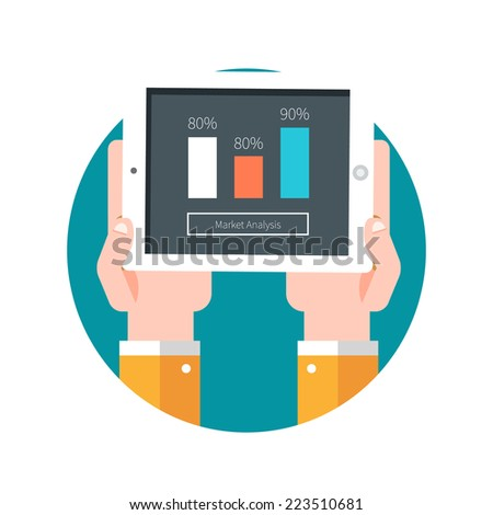 Hands hold tablet PC with graphs. Market analysis - stock vector