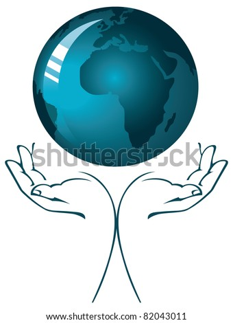 Hands holding a blue earth