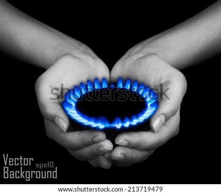 Hands holding a flame gas - Vector - stock vector