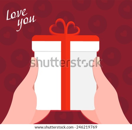 hands holding a gift box with a ribbon - flat design vector - stock vector
