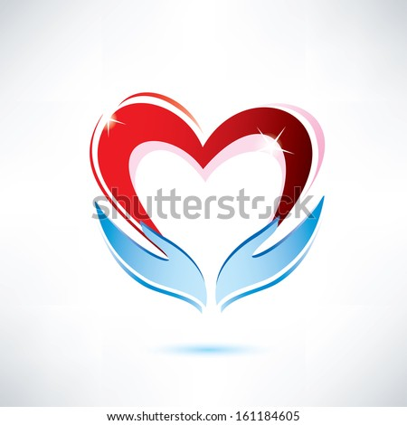 hands holding a heart, vector icon, love sharing concept - stock vector