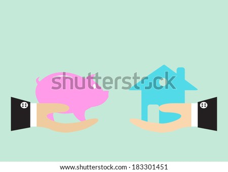 Hands holding a piggy bank and a house - stock vector