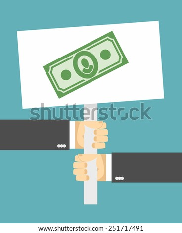 Hands holding a sign. money - stock vector