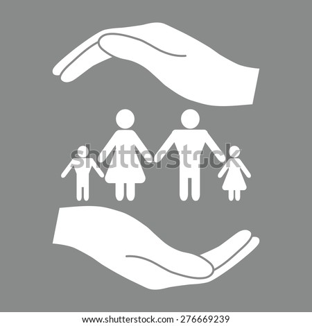 Hands holding a symbol of family. Family protect icon. - stock vector