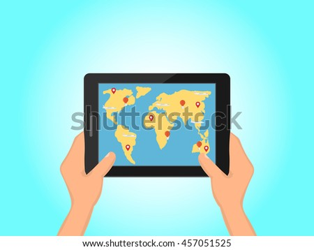 hands holding a tablet, a world map with signs on the screen, online booking concept, vector illustration in flat style