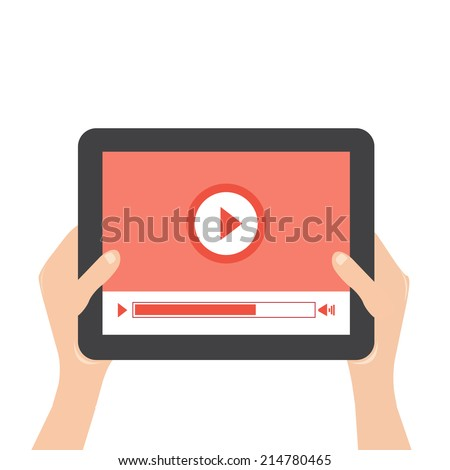 hands holding a tablet touch computer with play movie  - stock vector