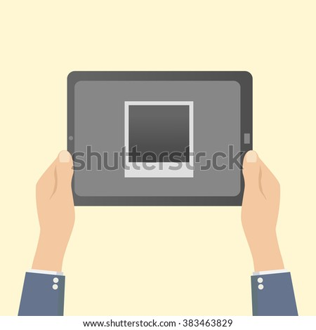 hands holding a tablet with a photo frame - stock vector