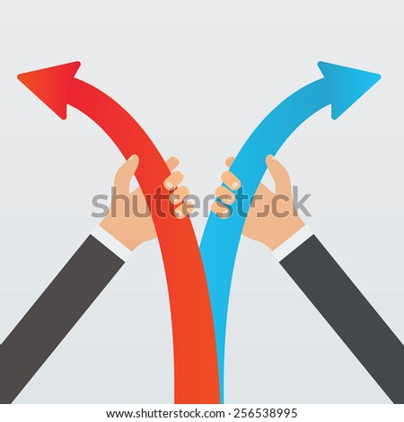 Hands holding arrows in opposite directions vector illustration. Disagreement, opposition and left and right political views concept. - stock vector