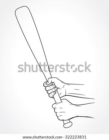 Hands holding baseball bat, vector illustration of hands holding baseball stick isolated on white background - stock vector