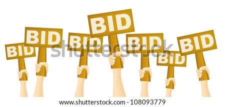 Hands holding BID sign to buy from auction. - stock vector