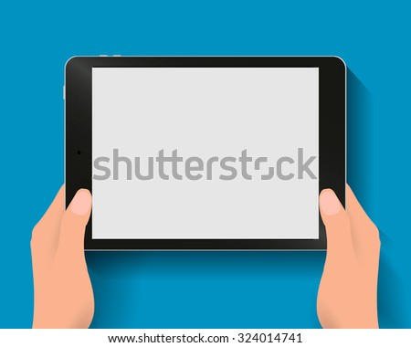 Hands holding black tablet computer at blue backgound with shadows. Vector illustration in flat design. Concept for web design, promotion templates, infographics. vector illustration