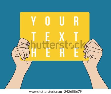 Hands holding blank banner, vector format - stock vector