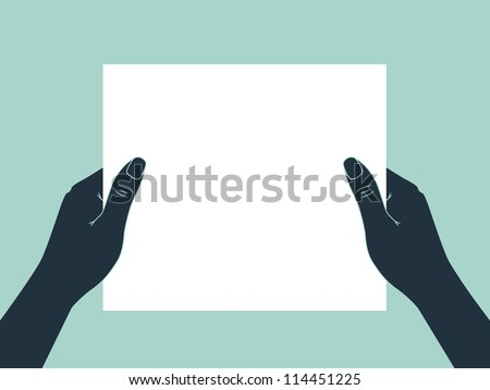 hands holding blank paper - stock vector