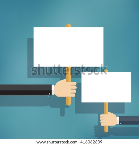 Hands holding blank protest boards in flat style.