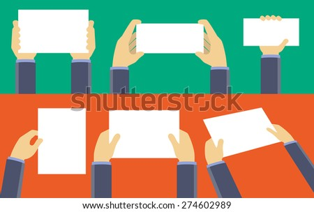 Hands holding blank sheet of paper, flat design concept - stock vector