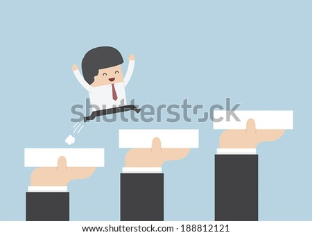 Hands holding blocks to help businessman to go to success, Career and growth Concept, VECTOR, EPS10 - stock vector