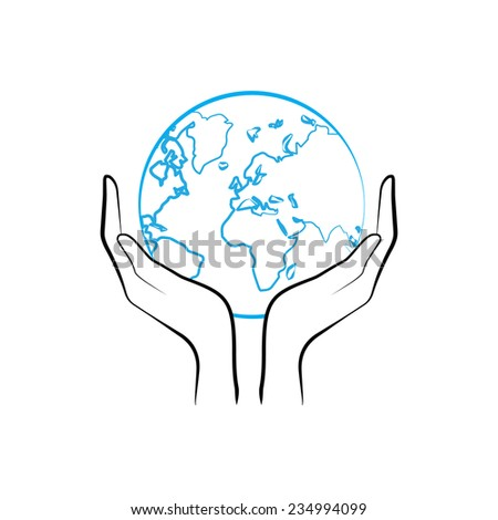 how to draw hands holding the world