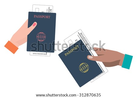 Hands Holding Boarding Pass and Passport. Vector Illustration. - stock vector