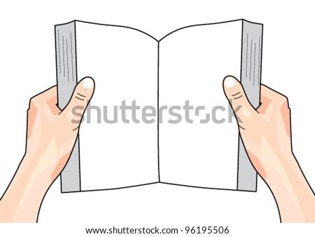 Hands Holding Book - stock vector