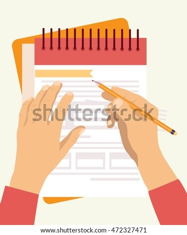 Hands holding business paper document flat vector background