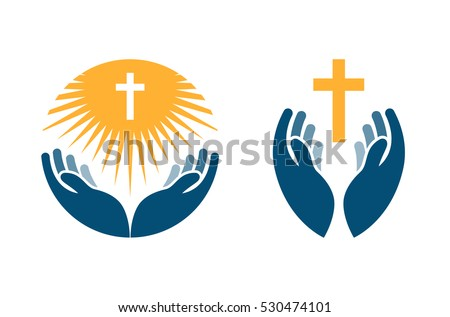 Hands holding Cross, icons or symbols. Religion, Church vector logo