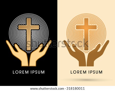 Hands holding cross with light graphic vector - stock vector