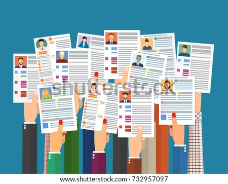 hands holding cv resume documents human stock vector 732957097