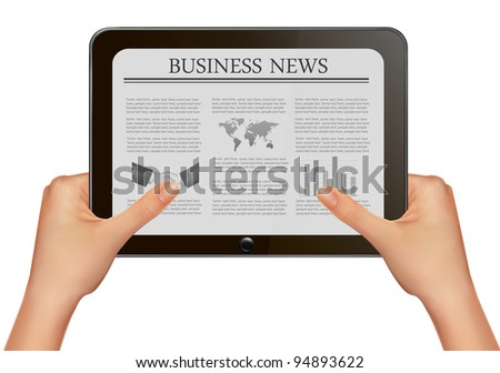 Hands holding digital tablet pc with business news. Vector illustration