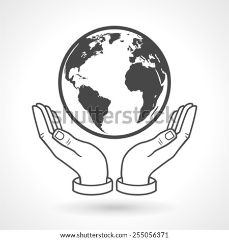 Hands Holding Earth Globe Symbol - stock vector