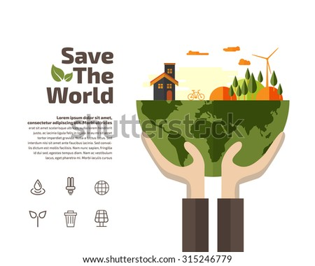 Hands holding Earth with ecology symbols, Ecology concept. - stock vector