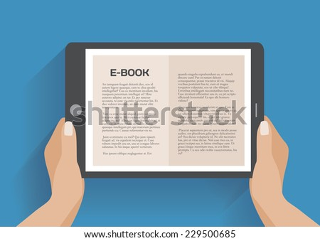 Hands holding electronic book, flat design concept. Using e-book, eps 10 vector illustration - stock vector