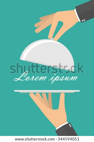 Hands holding empty silver serving tray and cloche. Flat style - stock vector