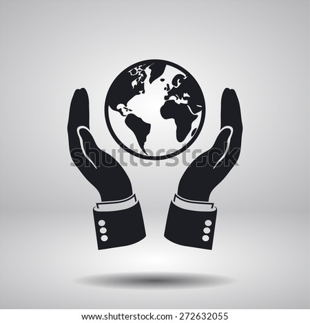 hands holding globe earth icon. Vector  Eps 10  - stock vector