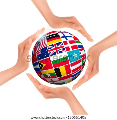Hands holding globe with flags of world. Vector.  - stock vector