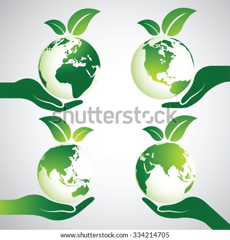 Hands Holding Green Earth Globe with leaves ,Vector Illustration  - stock vector