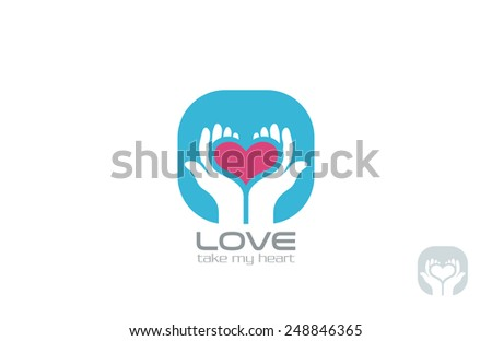 Hands holding Heart Logo design vector template. Take my Heart Logotype. Valentine day Love concept icon. - stock vector