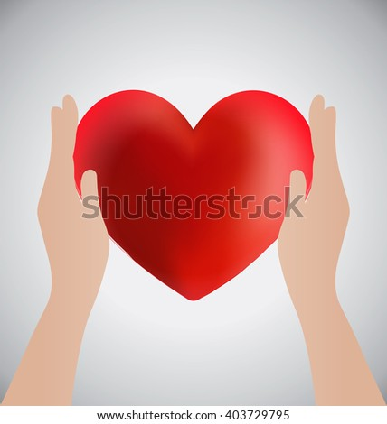 Hands Holding Heart, Love Concept
